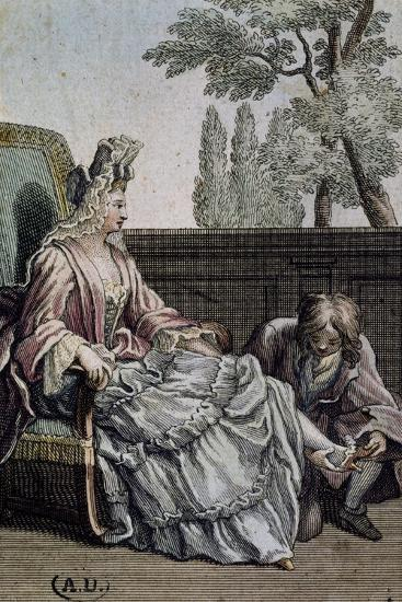 Shoemaker Measuring Lady's Shoes, Ca 1715, France, 18th Century--Giclee Print