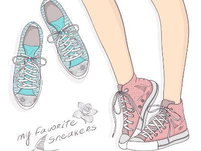 Shoes With Floral Pattern-cherry blossom girl-Art Print