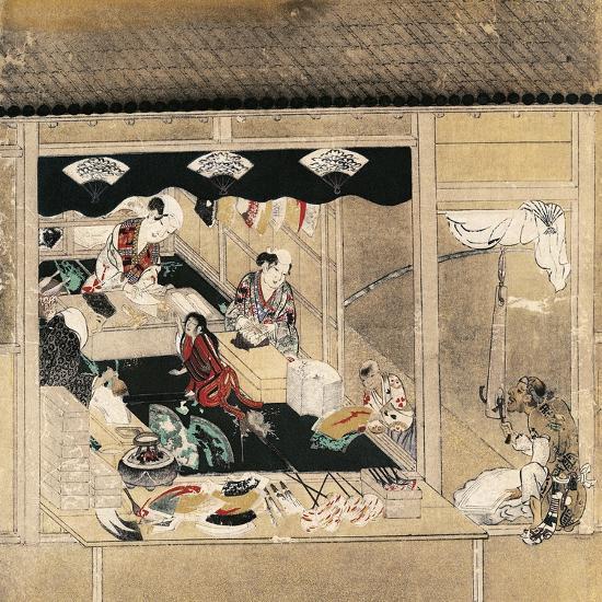 Shokunin Zukushi-E, Craftsmen at Work, Fan Makers, Detail from Screen, Japan, Edo Period--Giclee Print