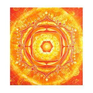 Abstract Orange Painted Picture with Circle Pattern, Mandala of Svadhisthana Chakra by shooarts