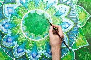 Man Painting Bright Green Picture With Circle Pattern, Mandala Of Anahata Chakra by shooarts