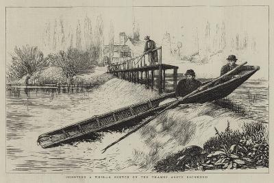 Shooting a Weir, a Sketch on the Thames Above Richmond--Giclee Print