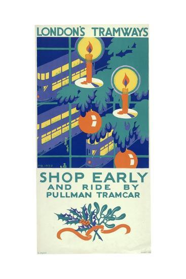 Shop Early and Ride by Pullman Tramcar, London County Council (LC) Tramways Poster, 1930-Freda Beard-Giclee Print