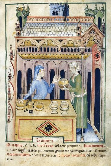 Shop with Butter Bread and Two Women from Tacuinum Sanitatis--Giclee Print