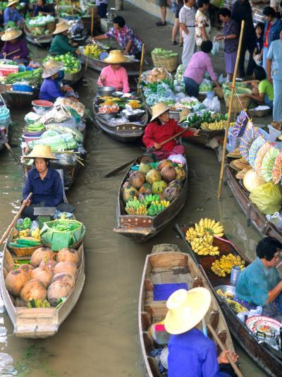 Shopping Boats at the Floating Market, Damnern Saduak, Bangkok, Thailand-Bill Bachmann-Photographic Print