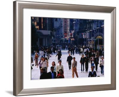 Shopping District of Nanjing Lu, Shanghai, China-Phil Weymouth-Framed Photographic Print