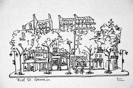 Shops along Boulevard St  Germain, Saint-Germain-des-Pres, Paris, France  Premium Photographic Print by Richard Lawrence | Art com