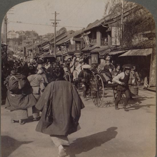 'Shops and crowds on Batsumati Street, in the native quarter, Yokohama, Japan', 1904-Unknown-Photographic Print