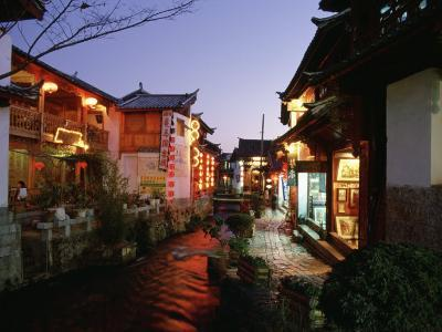Shops and Restaurants Along a Stone Cobbled Street in Lijiang at Night-xPacifica-Photographic Print