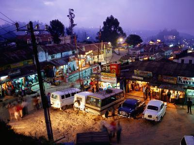 Shops and Stalls at Dusk, Kodaikanal, Tamil Nadu, India-Greg Elms-Photographic Print