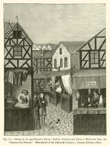 Shops in an Apothecary's Street: Barber, Furrier, and Tailor