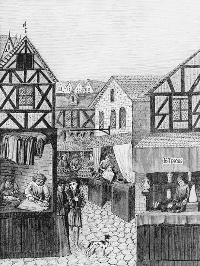 Shops in an Apothecary's Street: Barber--Giclee Print
