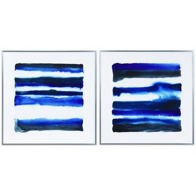 Abstract Wall Art Framed Silver Foil Blue