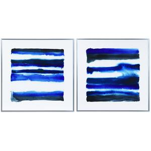 """""""Shorebreak Abstract AB"""" on Reverse Printed Art Glass and Anodized Aluminum Silver Frame Wall Art"""