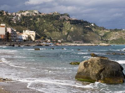 Shoreline and Beach, Giardini Naxos, View of Taormina, Sicily, Italy, Mediterranean, Europe-Martin Child-Photographic Print