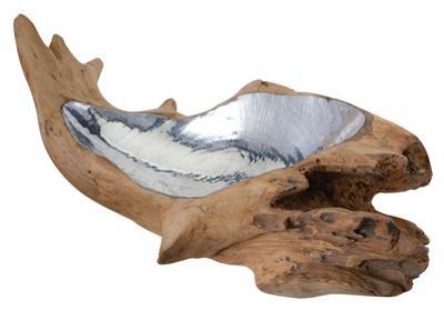 Short Teak Root Bowl With Aluminum Insert