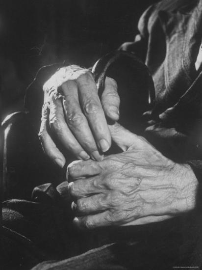 Shot of Hands Belonging to an Old Man-Carl Mydans-Photographic Print