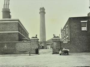 Shot Tower, Gates with Sphinxes, and Milk Cart, Belvedere Road, Lambeth, London, 1930