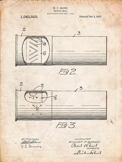 Shotgun Shell Patent Print-Cole Borders-Art Print