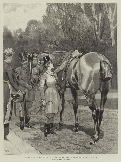 Should Ladies Ride Astride?, a Primary Difficulty-John Charlton-Giclee Print