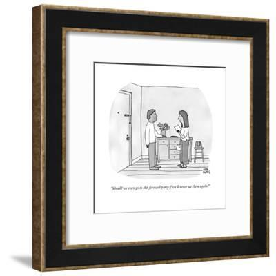 """""""Should we even go to this farewell party if we'll never see them again?"""" - New Yorker Cartoon-Amy Hwang-Framed Premium Giclee Print"""