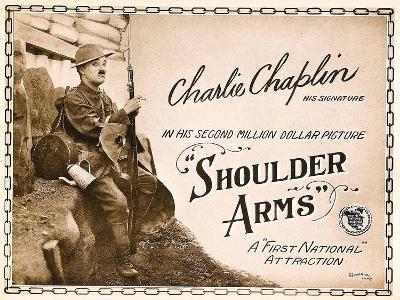 SHOULDER ARMS, on left: Charles Chaplin (aka 'Charlie Chaplin') on Title Card, 1918.--Art Print