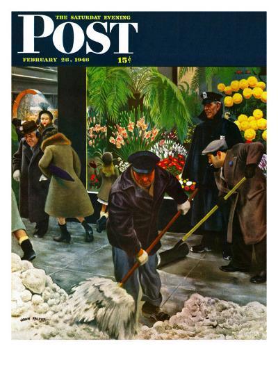 """Shoveling Floral Shop Sidewalk,"" Saturday Evening Post Cover, February 28, 1948-John Falter-Giclee Print"