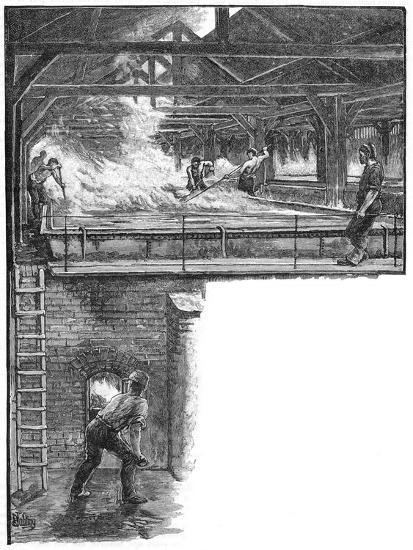 Shovelling salt at South Durham Salt Works, 1884. Artist: Unknown-Unknown-Giclee Print