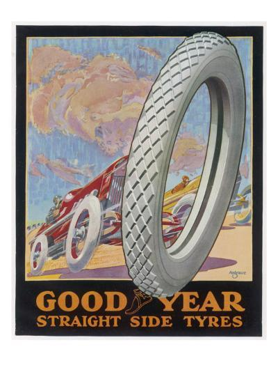 Showcard for Goodyear Straight Side Tyres--Giclee Print