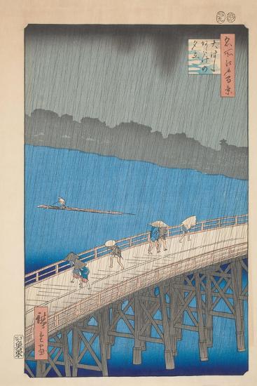 Shower over Ohashi Bridge, 1857-Utagawa Hiroshige-Giclee Print