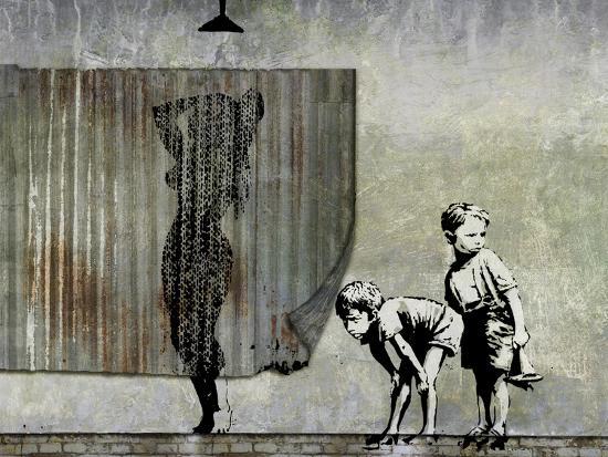 Shower Peepers-Banksy-Premium Giclee Print