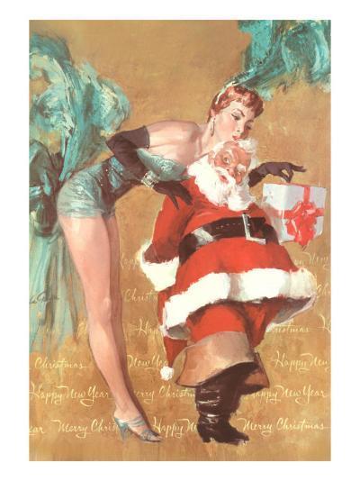 Showgirl Kissing Santa Claus--Art Print