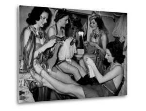Showgirls Knitting Garments During Drive to Provide Goods to Servicemen During the War
