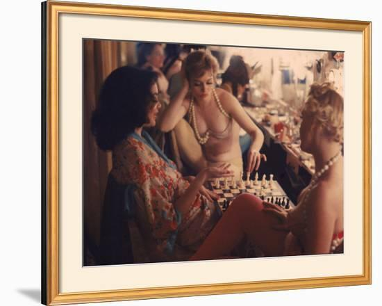 Showgirls Playing Chess Between Shows at Latin Quarter Nightclub-Gordon Parks-Framed Photographic Print