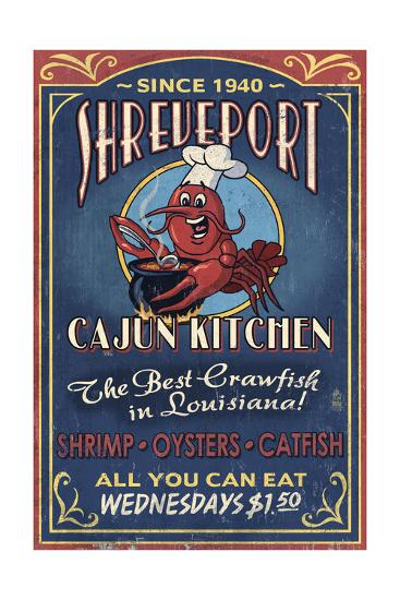 Shreveport, Louisiana - Cajun Kitchen Crawfish Vintage Sign-Lantern Press-Art Print