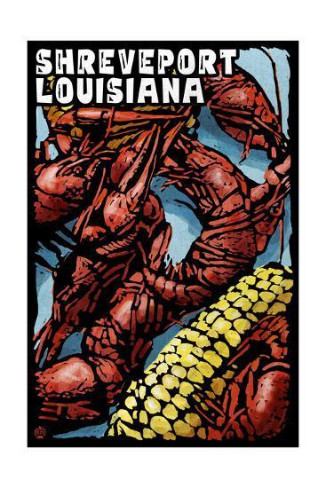 Shreveport, Louisiana - Crawfish - Scratchboard-Lantern Press-Art Print