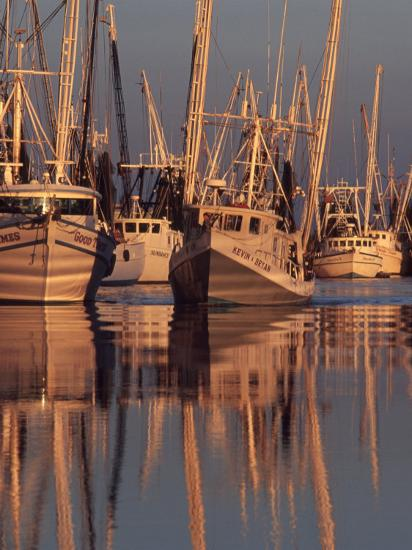 Shrimp Boats Tied to Dock, Darien, Georgia, USA-Joanne Wells-Photographic Print