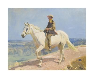 Shrimp On A White Welsh Pony-Sir Alfred Munnings-Premium Giclee Print