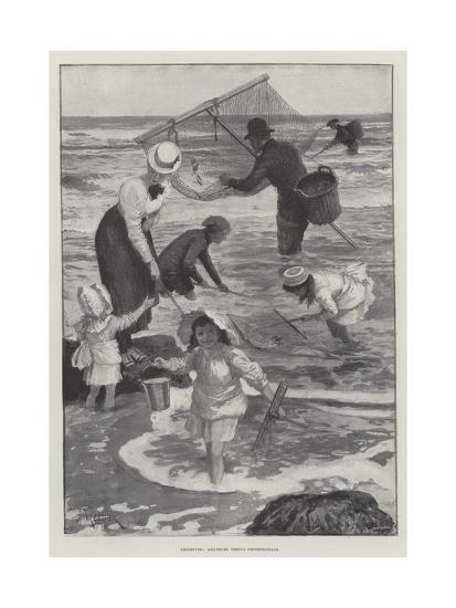 Shrimping, Amateurs Versus Professionals-Amedee Forestier-Giclee Print
