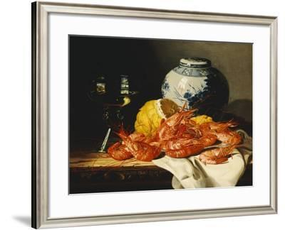 Shrimps, a Peeled Lemon, a Glass of Wine and a Blue and White Ginger Jar on a Draped Table-Edward Ladell-Framed Giclee Print