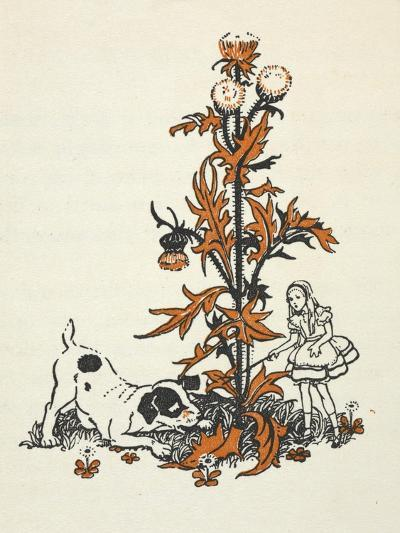 Shrunken Alice and the Puppy by a Giant Thistle.-Gwynedd Hudson-Giclee Print