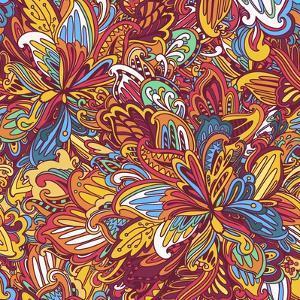 Ornamental Floral Pattern: Rainbow Floral Pattern by shumo4ka