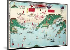 The Map Showing the First Interview Between the Japanese and Americans at Kurehama 1853 by Shusai Kokuo