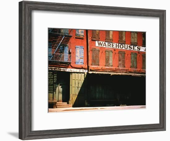 Shuttered Warehouse on the Lower East Side Lit by Late Day Sunlight-Walker Evans-Framed Premium Photographic Print