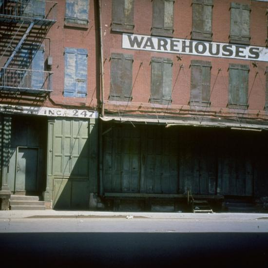 Shuttered Warehouse on the Lower East Side Lit by Late Day Sunlight--Photographic Print