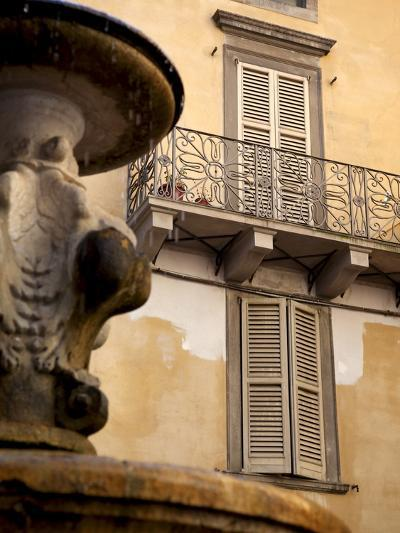 Shuttered Windows and Fountain, Bergamo, Lombardy, Italy, Europe-Frank Fell-Photographic Print