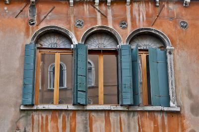 Shuttered Windows in Green, Venice, Italy-Darrell Gulin-Photographic Print