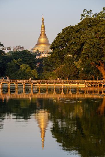 Shwedagon, Kan Daw Gyi Lake and Park, Old City, Yangon (Rangoon), Myanmar (Burma), Asia-Nathalie Cuvelier-Photographic Print