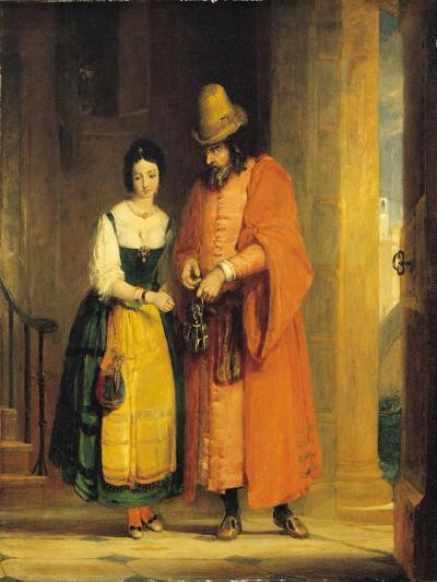 Shylock and Jessica from 'The Merchant of Venice', Act II, Scene II, 1830-Gilbert Stuart Newton-Giclee Print