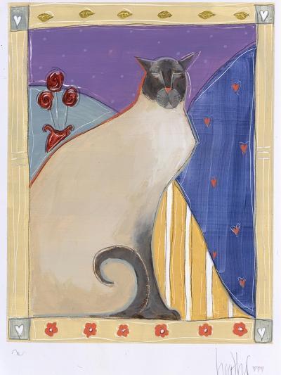 Siamese Cat with Flowers-Heather Ramsey-Premium Giclee Print